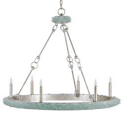 Coastal Beach Aqua Sea Glass Crown 6 Light Chandelier