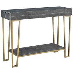 Gena Hollywood Regency Charcoal Faux Shagreen Gold Console Table