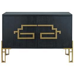 Rhodes Modern Classic Deco Brass Black Wood Sideboard