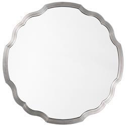 Joy Modern Classic Silver Leaf Wavy Round Mirror - 40D