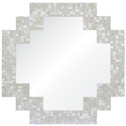Miami Coastal Beach Geometric Pearl Shell Frame Mirror