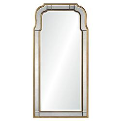 Holiday Hollywood Regency Antique Gold Leaf Frame Arch Mirror