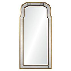 Holiday Hollywood Regency Antique Gold Leaf Frame Arch Wall Mirror