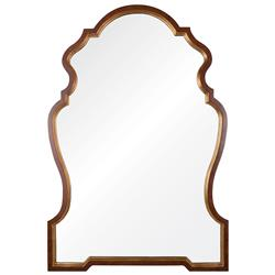 Jonzac French Country Burl Wood Gold Leaf Chippendale Mirror