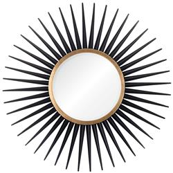 Hitchcock Hollywood Regency Ebony Gold Leaf Sunburst Mirror