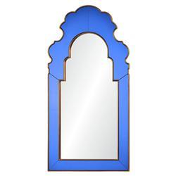 Roxy Hollywood Regency Blue Glass Frame Gold Trim Arch Wall Mirror