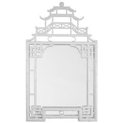 Jemaa Global Bazaar Asian White Lacquer Frame Chinoiserie Mirror