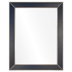 Gayle Modern Classic Blue Leather Silver Frame Mirror - 44x32