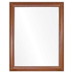 Gayle Modern Classic Brown Leather Brass Frame Mirror - 42x30