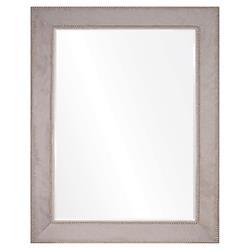 Kristen Modern Classic Grey Hide Silver Nailhead Mirror - 44x32
