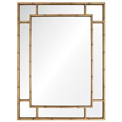 Gable Regency Distressed Gold Leaf Iron Bamboo Wall Mirror