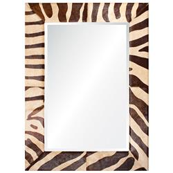 Sarabi Global Bazaar Beige Brown Striped Hide Mirror - 46x34