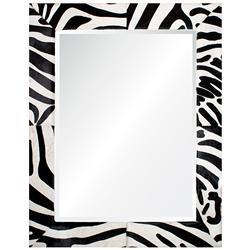 Durban Global Bazaar Black White Striped Hide Mirror - 46x34