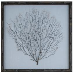 Bandon Coastal Beach Ocean Blue Linen Bamboo Sea Fan Art