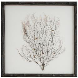 Bandon Coastal Beach White Linen Brown Bamboo Sea Fan Art