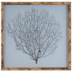 Bandon Coastal Beach Ocean Blue Linen Beige Bamboo Sea Fan Art