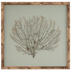 Bandon Coastal Beach Seafoam Green Linen Beige Bamboo Sea Fan Art