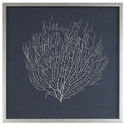 Bandon Coastal Beach Navy Linen Antique Silver Leaf Sea Fan Art