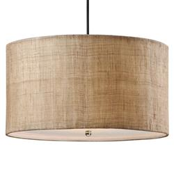 Emelia Rustic Lodge Burlap Drum 3 Light Pendant