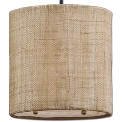 Emelia Rustic Lodge Burlap Drum 1 Light Pendant