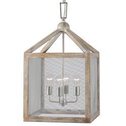 Reid Rustic Lodge Grey Wash Wood Lantern