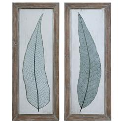 Aubriana Coastal Teal Botanical Leaf Distressed Print - Set of 2