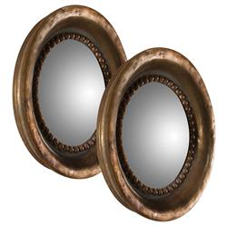 Everleigh French Country Round Antique Copper Mirrors - Set of 2 - 17.5D