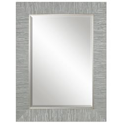 Landen Modern Classic Textured Silver Stripe Beveled Mirror