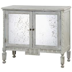 Bellport Coastal Beach Grey Antique Mirror Console Media Cabinet