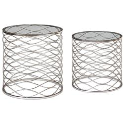 Swanson Hollywood Regency Silver Weave Caged End Table - Set of 2