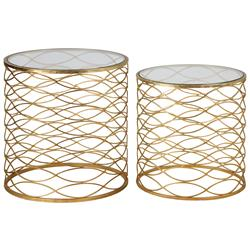 Swanson Hollywood Regency Gold Weave Caged End Table - Set of 2