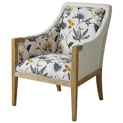 Nina French Country Floral Upholstered Oak Arm Chair