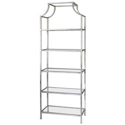 Garbo Hollywood Regency Silver Leaf 5 Tier Iron Etagere
