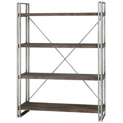 Brixton Industrial Loft 4 Tier Metal Wood Etagere
