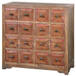 Anton Rustic Lodge Reclaimed Fir Distressed Red 6 Drawer Dresser