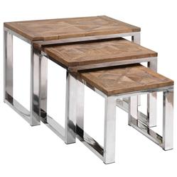 Haverley Rustic Recycled Elm Steel Nesting Tables - Set of 3