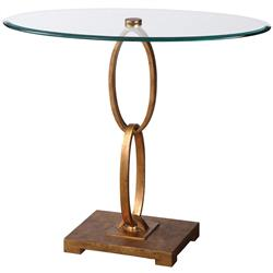 Theda Hollywood Regency Gold Oval Iron Ring Glass Side Table