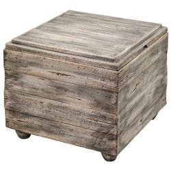 Waco Rustic Lodge Grey Waxed Driftwood Square Block End Table
