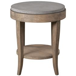 Scout Industrial Loft Round Concrete Fir Accent Table