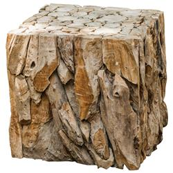 Sagamore Rustic Lodge Reclaimed Teak Wood Cube End Table