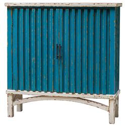 Adriatico Coastal Beach Rustic Blue  Distressed Wood Cabinet