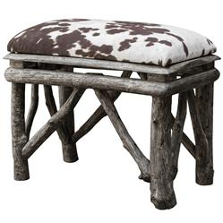 Jolene Rustic Lodge Faux Cow Hide Velvet Teak Stool