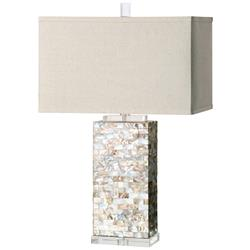 Giana Coastal Beach Shell Mosaic Crystal Table Lamp