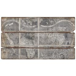 Alani Industrial Loft Wood Plank Backed Antique World Map