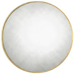 Remi Hollywood Regency Antique Gold Narrow Ring Round Mirror - 43D