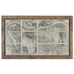 Dariel Industrial Loft Rustic Framed Antique World Map
