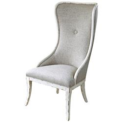 Adaliz French Country Flax Linen White Wash High Back Chair