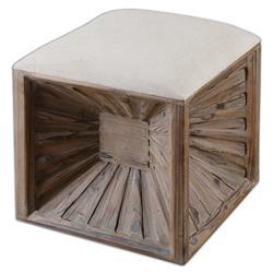 Jordyn Global Bazaar Brown Wood Beige Upholstered Ottoman