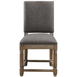 Brennan French Country Grey Antique Brass Hammered Wood Chair