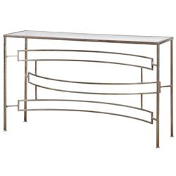 Endora Hollywood Regency Silver Leaf Glass Console Table